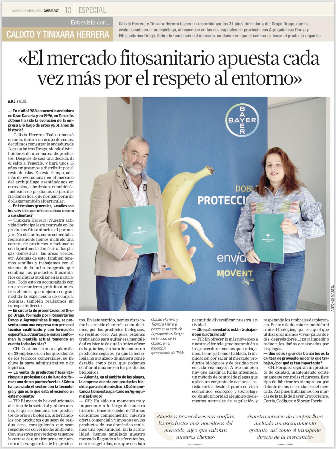 Entrevista a Grupo Drago en Canarias 7